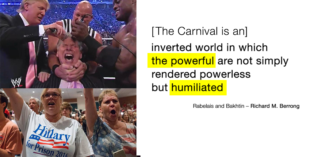 [The Carnival is an] inverted world in which the powerful are not simply rendered powerless but humiliated.